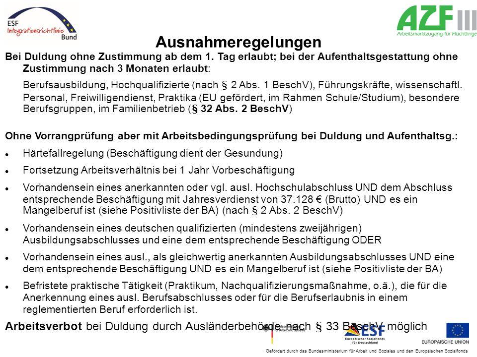 Ausnahmeregelungen Bei Duldung ohne Zustimmung ab dem 1. Tag erlaubt; bei der Aufenthaltsgestattung ohne Zustimmung nach 3 Monaten erlaubt:
