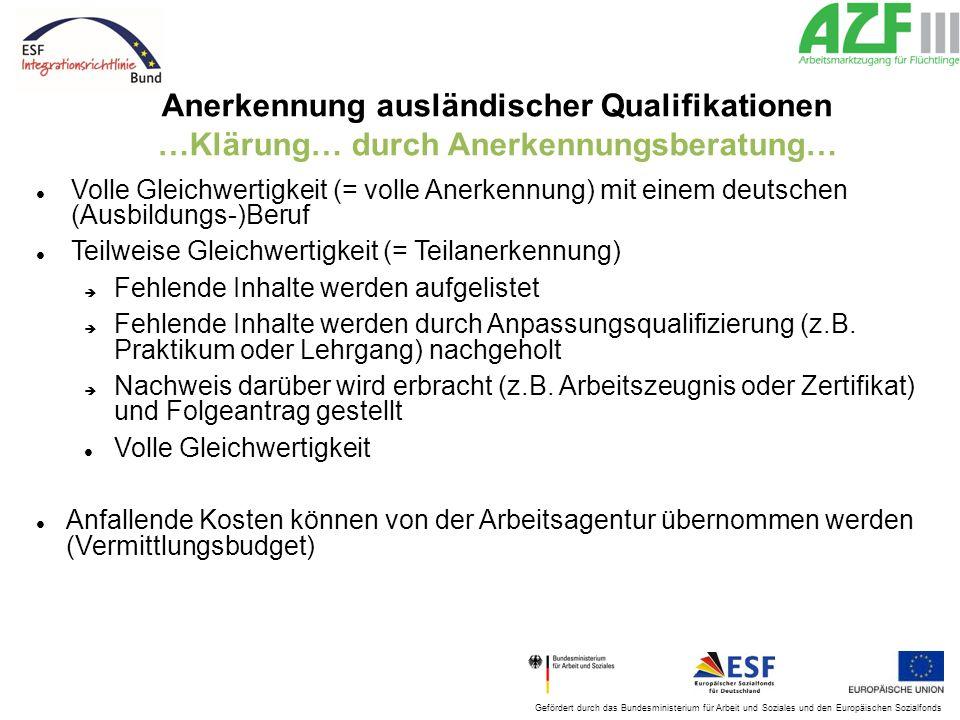 Anerkennung ausländischer Qualifikationen …Klärung… durch Anerkennungsberatung…