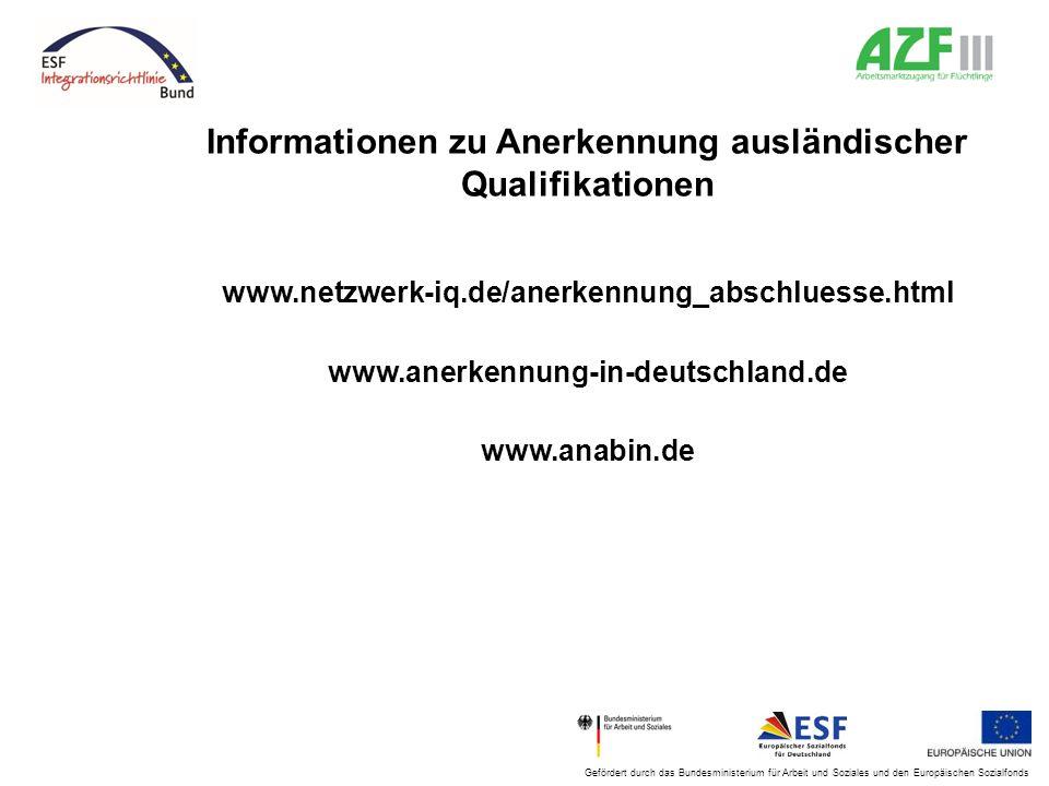 Informationen zu Anerkennung ausländischer Qualifikationen