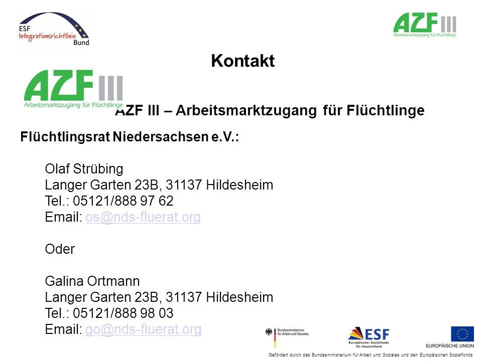 Kontakt AZF III – Arbeitsmarktzugang für Flüchtlinge