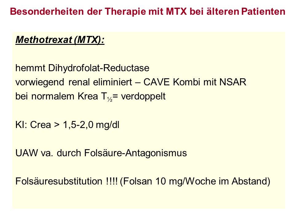 Besonderheiten der Therapie mit MTX bei älteren Patienten