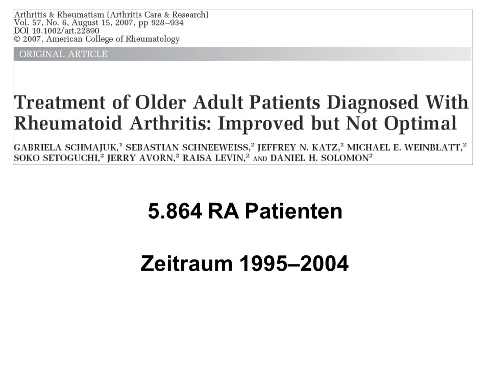 5.864 RA Patienten Zeitraum 1995–2004