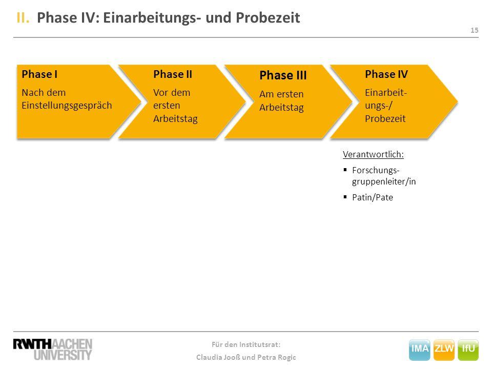 II. Phase IV: Einarbeitungs- und Probezeit