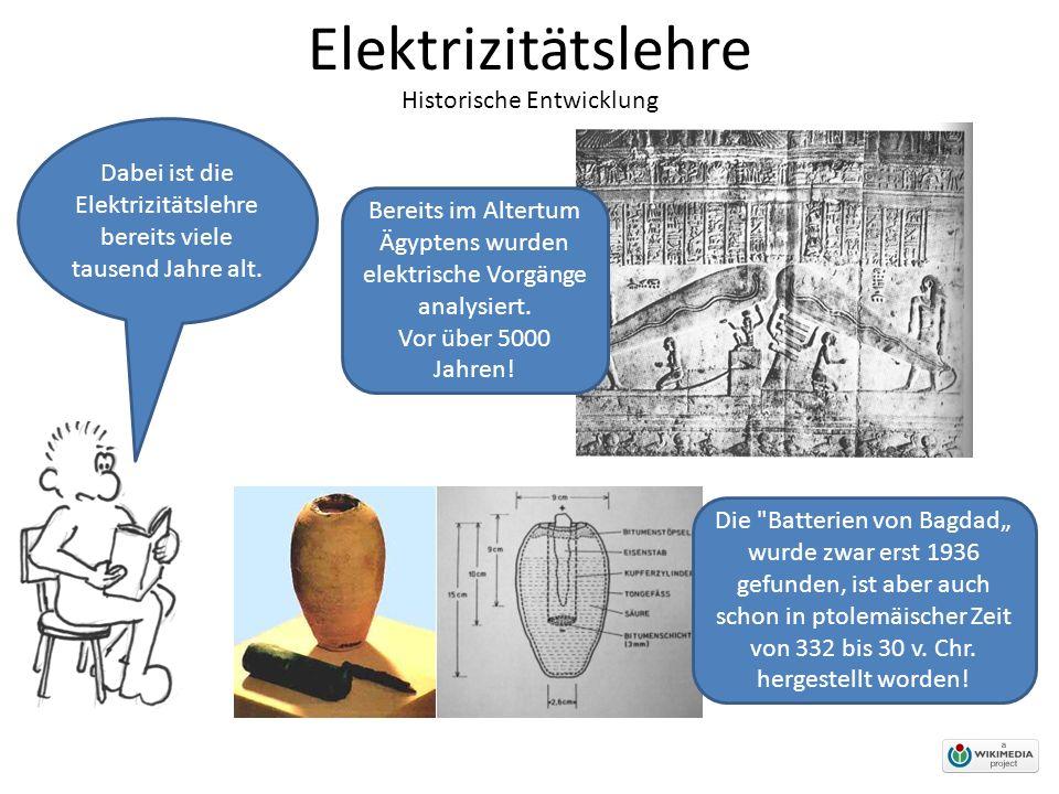 Elektrizitätslehre Historische Entwicklung