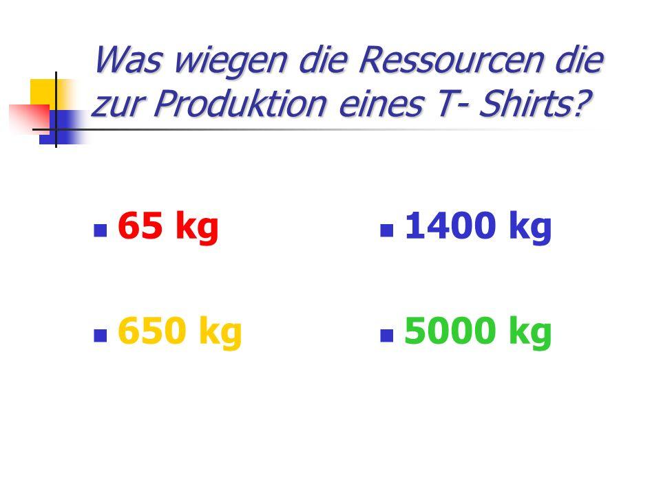 Was wiegen die Ressourcen die zur Produktion eines T- Shirts