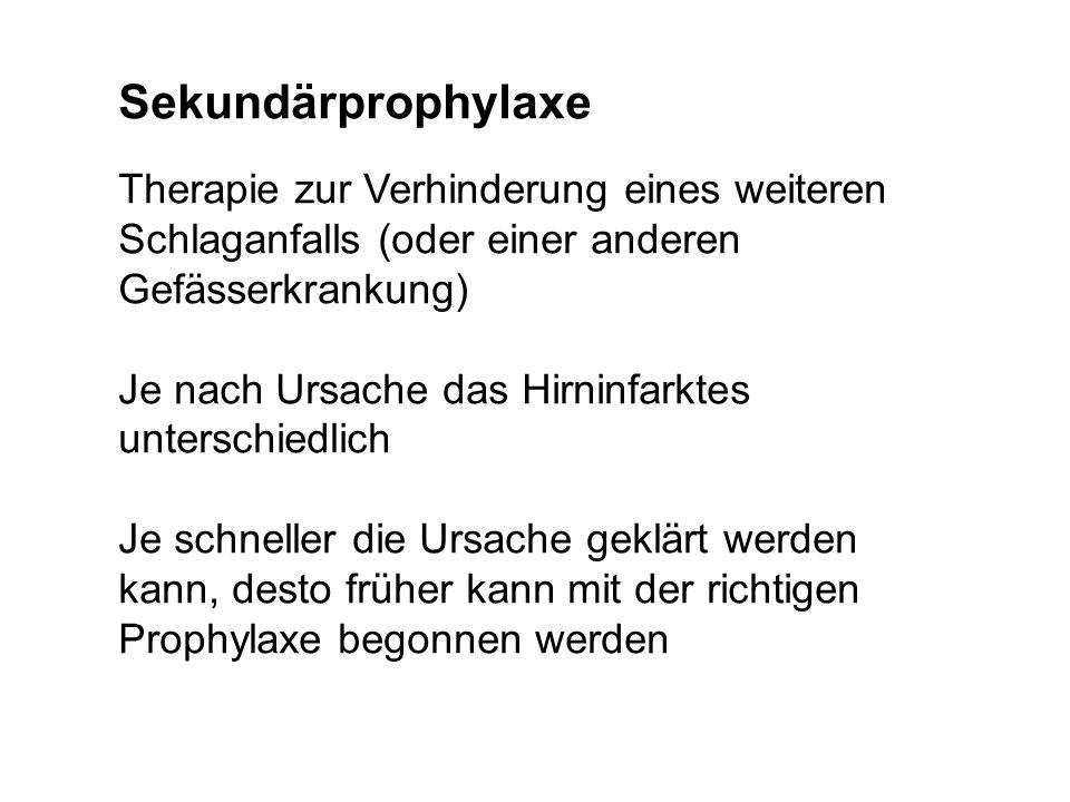 Sekundärprophylaxe Therapie zur Verhinderung eines weiteren Schlaganfalls (oder einer anderen Gefässerkrankung)