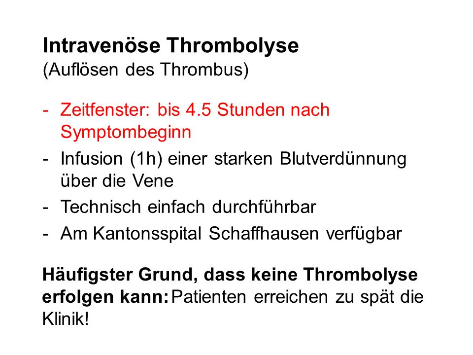 Intravenöse Thrombolyse