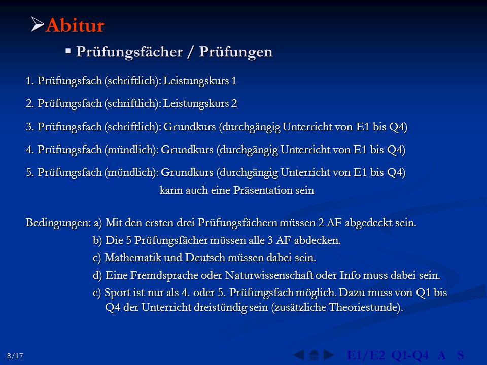 Abitur Prüfungsfächer / Prüfungen E1/E2 Q1-Q4 A S