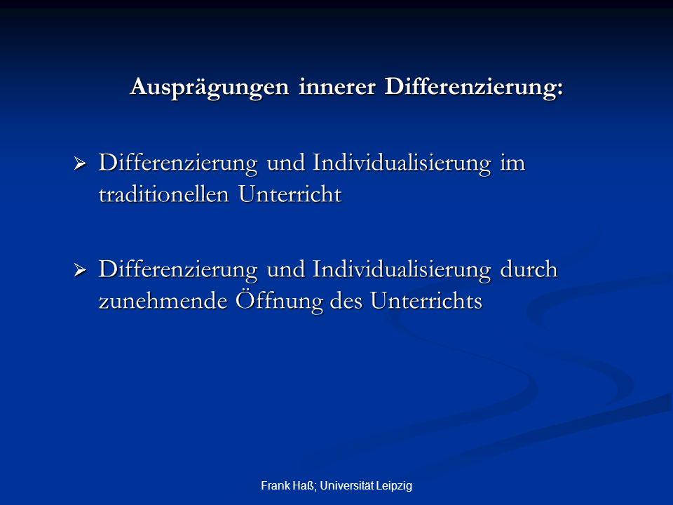 Ausprägungen innerer Differenzierung: