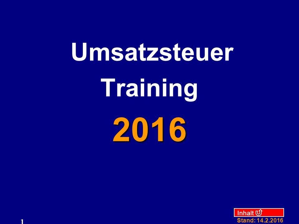 Umsatzsteuer Training 2016