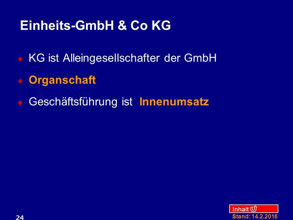 Einheits-GmbH & Co KG KG ist Alleingesellschafter der GmbH Organschaft