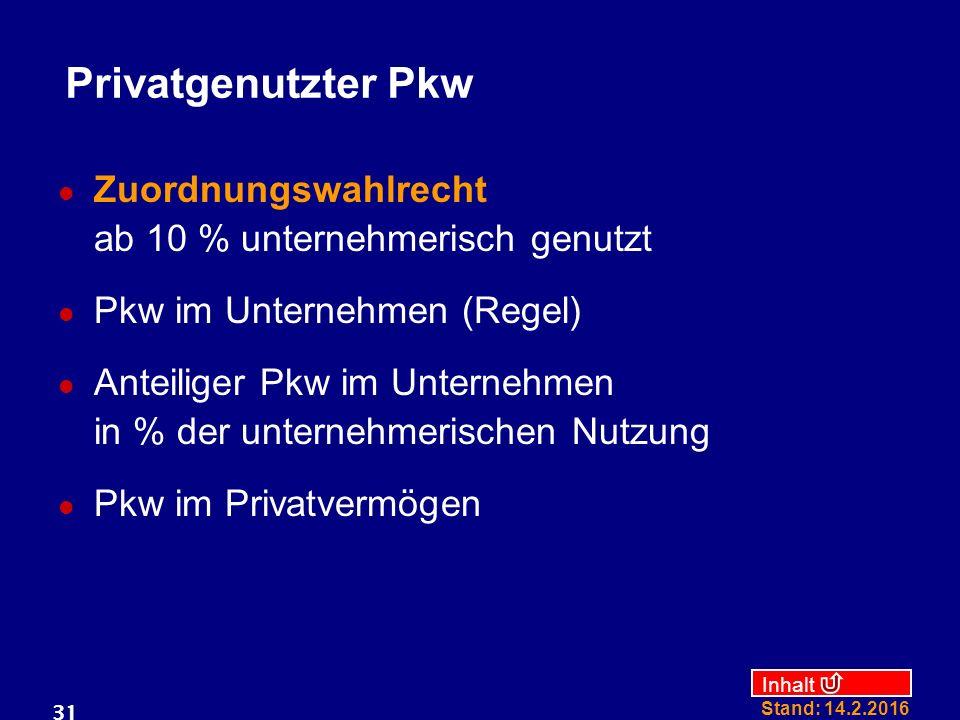 Privatgenutzter Pkw Zuordnungswahlrecht ab 10 % unternehmerisch genutzt. Pkw im Unternehmen (Regel)