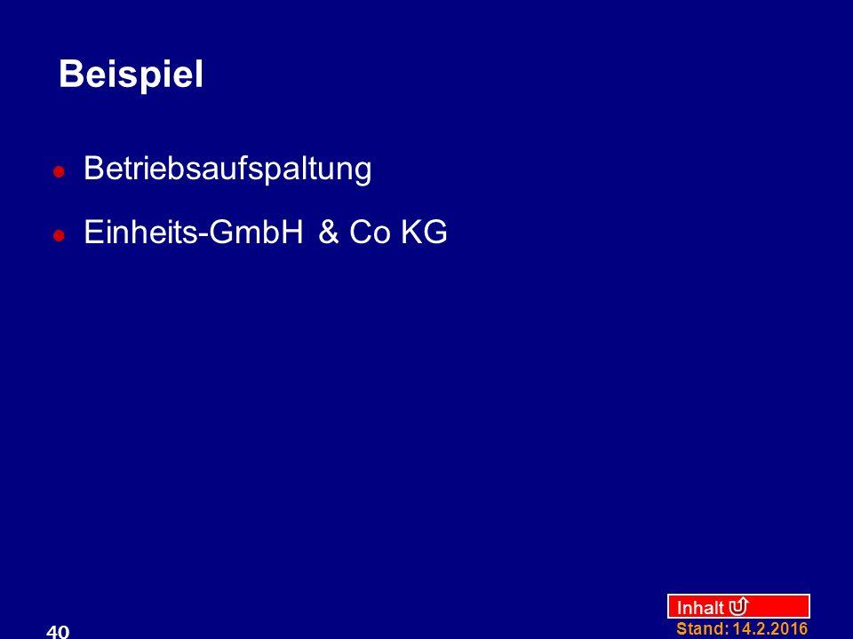 Beispiel Betriebsaufspaltung Einheits-GmbH & Co KG