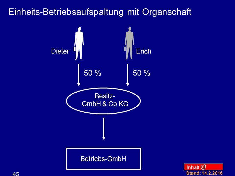 Einheits-Betriebsaufspaltung mit Organschaft