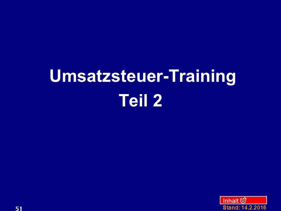 Umsatzsteuer-Training Teil 2