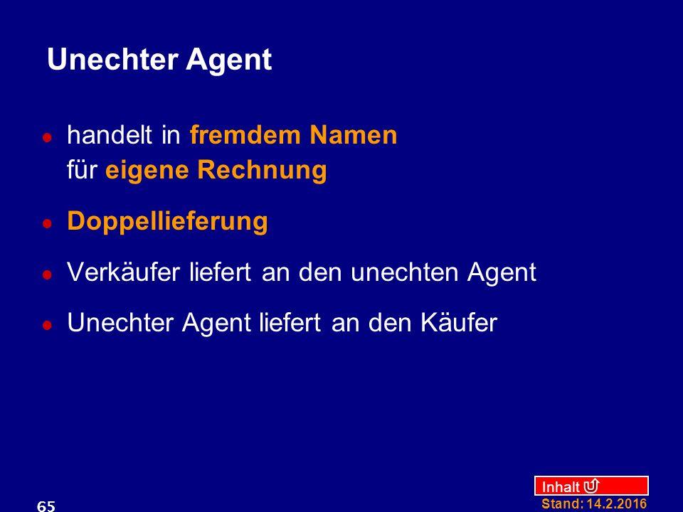 Unechter Agent handelt in fremdem Namen für eigene Rechnung