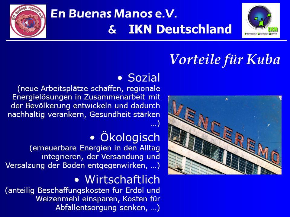 Vorteile für Kuba En Buenas Manos e.V. & IKN Deutschland