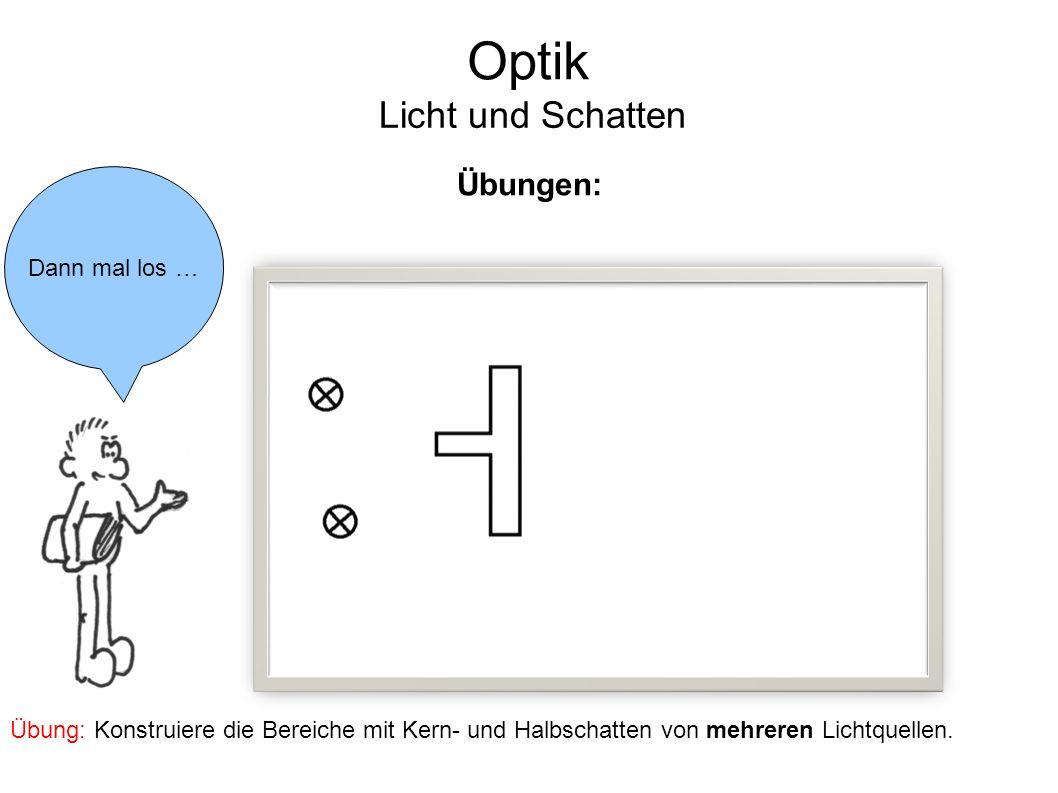 Optik Licht und Schatten Übungen: Dann mal los …