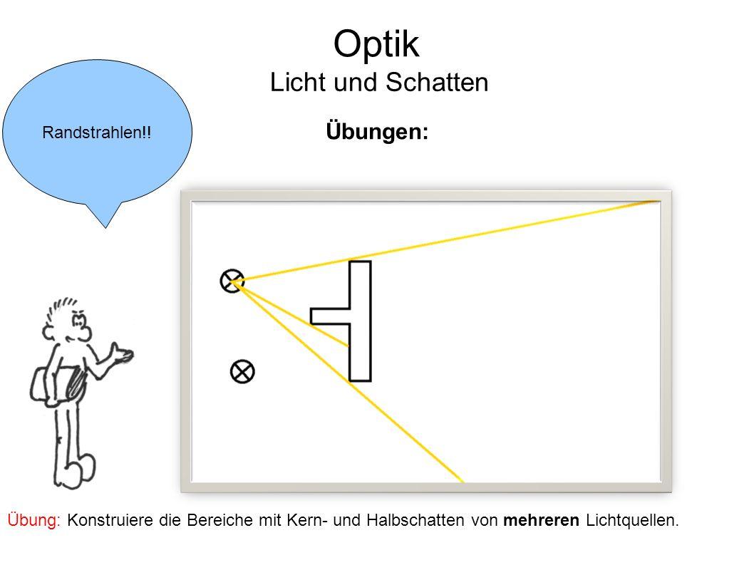 Optik Licht und Schatten Übungen: Randstrahlen!!