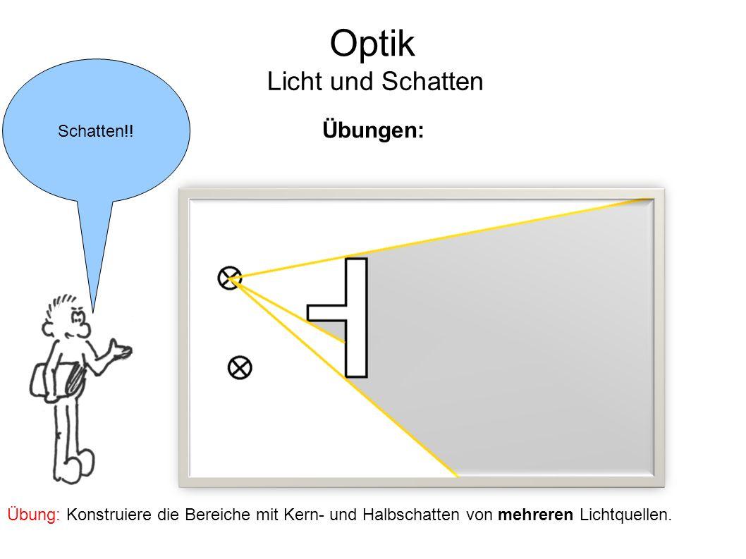 Optik Licht und Schatten Übungen: Schatten!!