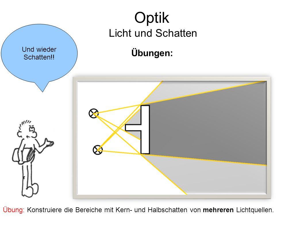 Optik Licht und Schatten Übungen: Und wieder Schatten!!