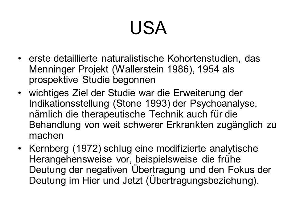 USA erste detaillierte naturalistische Kohortenstudien, das Menninger Projekt (Wallerstein 1986), 1954 als prospektive Studie begonnen.