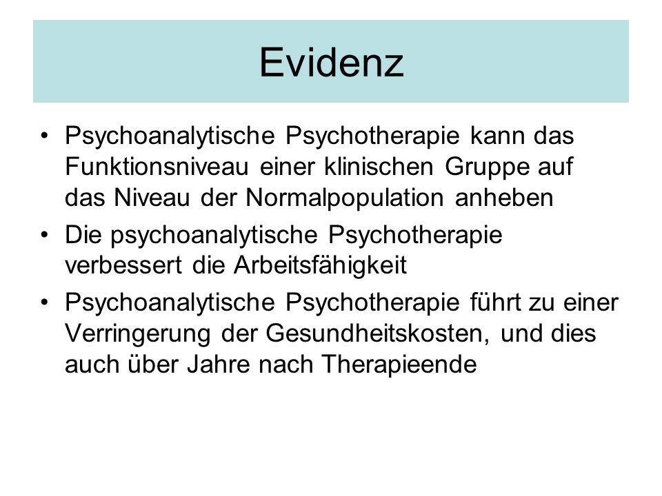 Evidenz Psychoanalytische Psychotherapie kann das Funktionsniveau einer klinischen Gruppe auf das Niveau der Normalpopulation anheben.