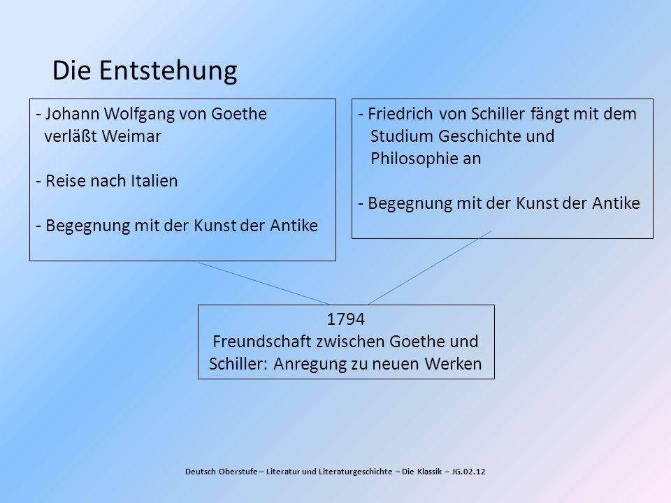 Die Entstehung - Johann Wolfgang von Goethe verläßt Weimar - Reise nach Italien - Begegnung mit der Kunst der Antike.