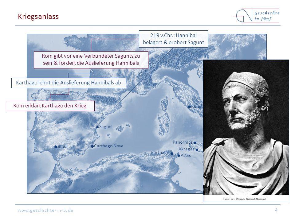 Kriegsanlass 219 v.Chr.: Hannibal belagert & erobert Sagunt