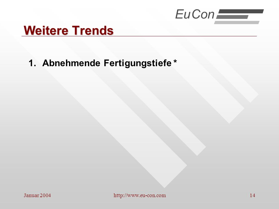 Eu Con Weitere Trends Abnehmende Fertigungstiefe * Januar 2004