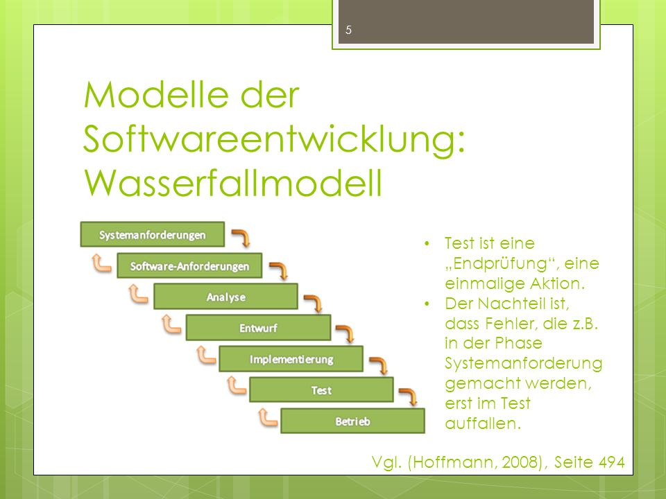 Modelle der Softwareentwicklung: Wasserfallmodell