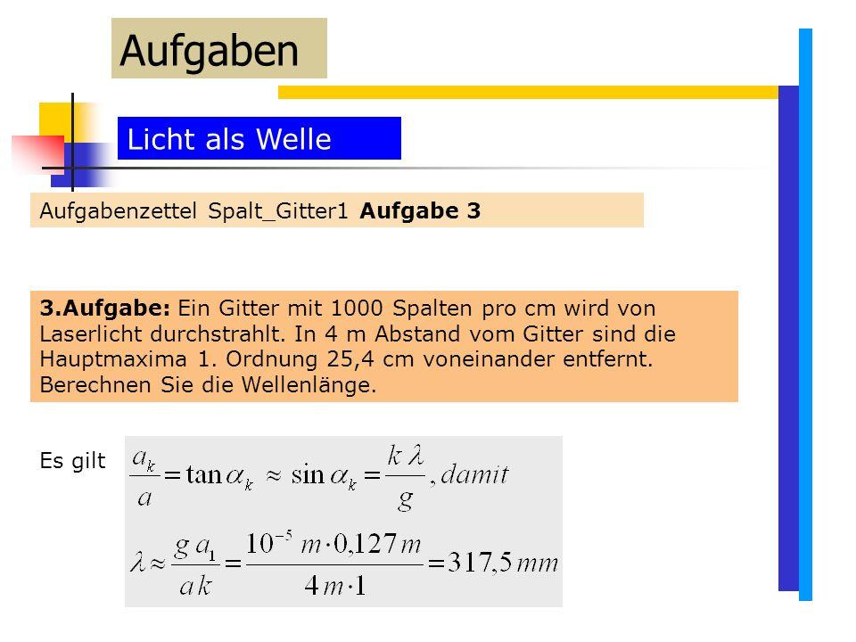 Aufgaben Licht als Welle Aufgabenzettel Spalt_Gitter1 Aufgabe 3