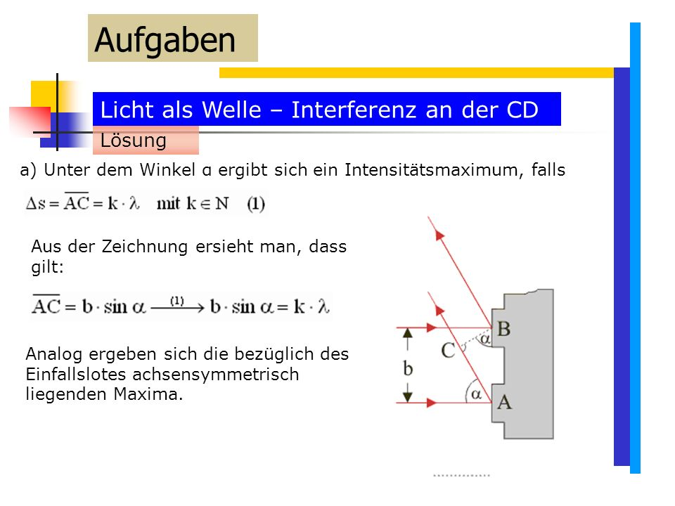 Aufgaben Licht als Welle – Interferenz an der CD Lösung