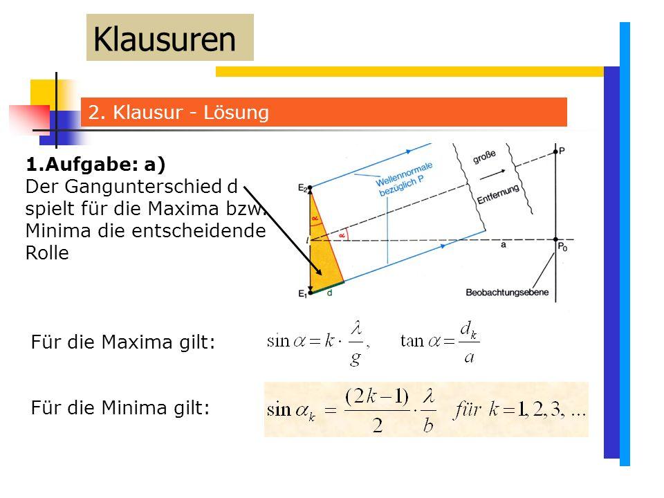 Klausuren 2. Klausur - Lösung 1.Aufgabe: a)