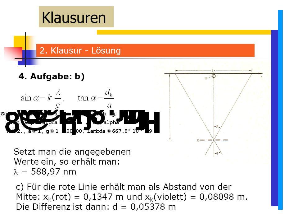 Klausuren 2. Klausur - Lösung 4. Aufgabe: b)
