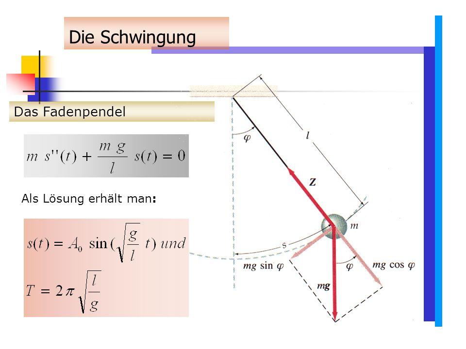 Die Schwingung Das Fadenpendel Als Lösung erhält man: