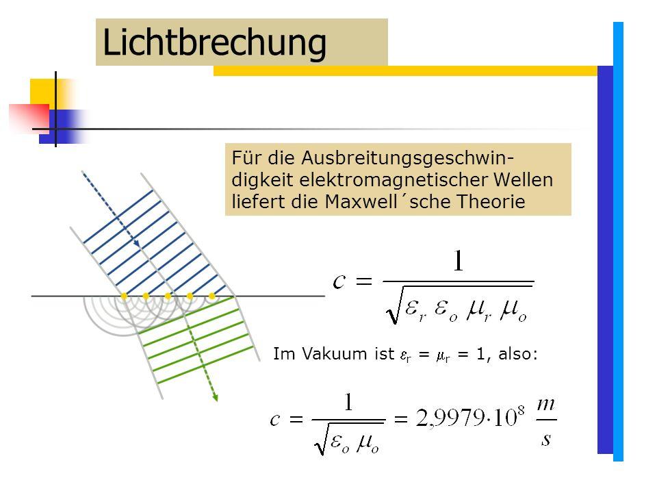 Lichtbrechung Für die Ausbreitungsgeschwin-digkeit elektromagnetischer Wellen liefert die Maxwell´sche Theorie.