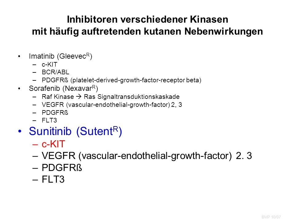 Inhibitoren verschiedener Kinasen mit häufig auftretenden kutanen Nebenwirkungen