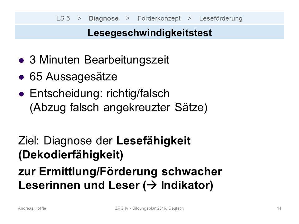 LS 5 > Diagnose > Förderkonzept > Leseförderung