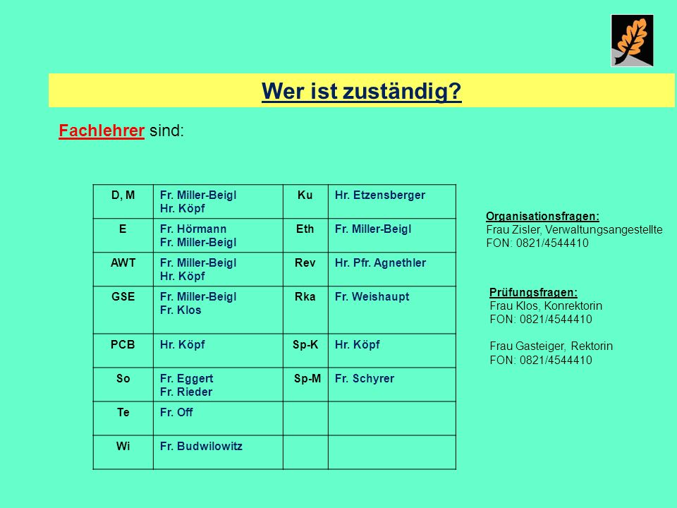Wer ist zuständig Fachlehrer sind: D, M Fr. Miller-Beigl Hr. Köpf Ku