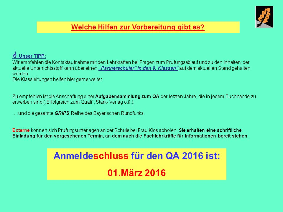 Anmeldeschluss für den QA 2016 ist: 01.März 2016