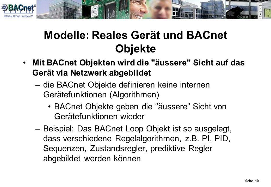 Modelle: Reales Gerät und BACnet Objekte