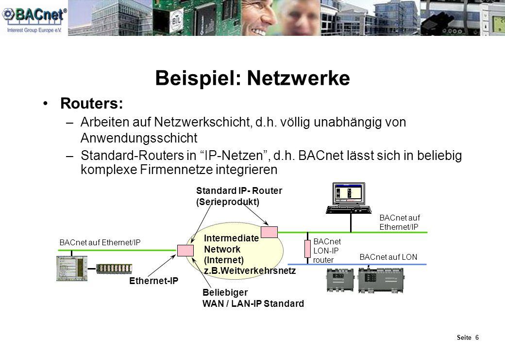 Beispiel: Netzwerke Routers: