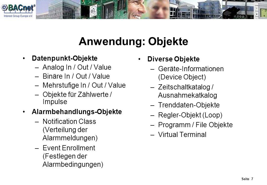 Anwendung: Objekte Datenpunkt-Objekte Analog In / Out / Value