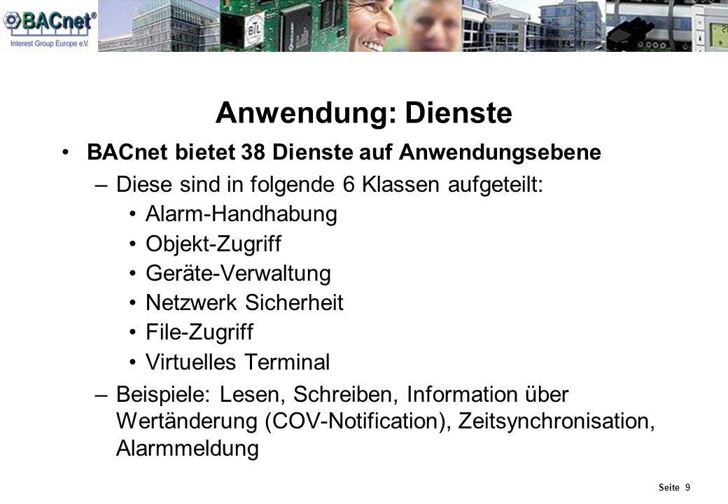 Anwendung: Dienste BACnet bietet 38 Dienste auf Anwendungsebene