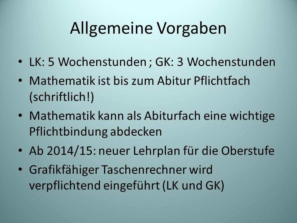 Allgemeine Vorgaben LK: 5 Wochenstunden ; GK: 3 Wochenstunden