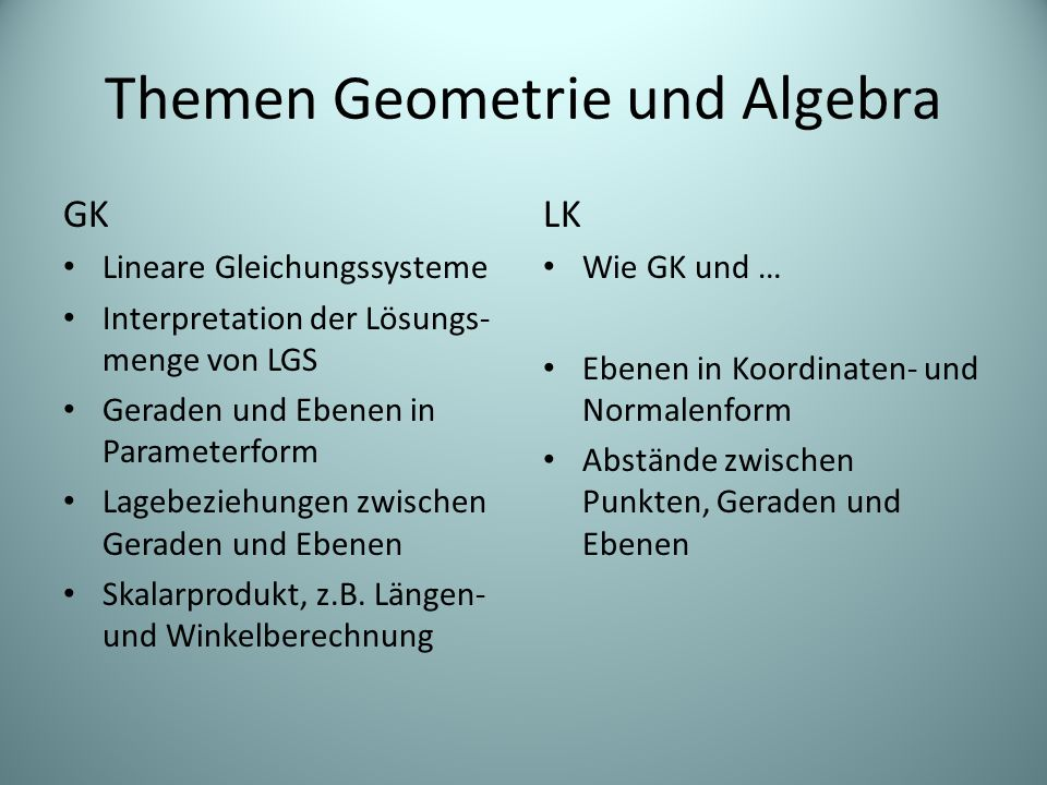 Themen Geometrie und Algebra