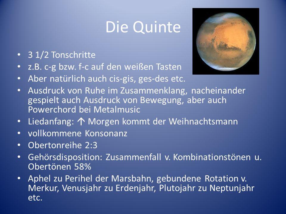 Die Quinte 3 1/2 Tonschritte z.B. c-g bzw. f-c auf den weißen Tasten