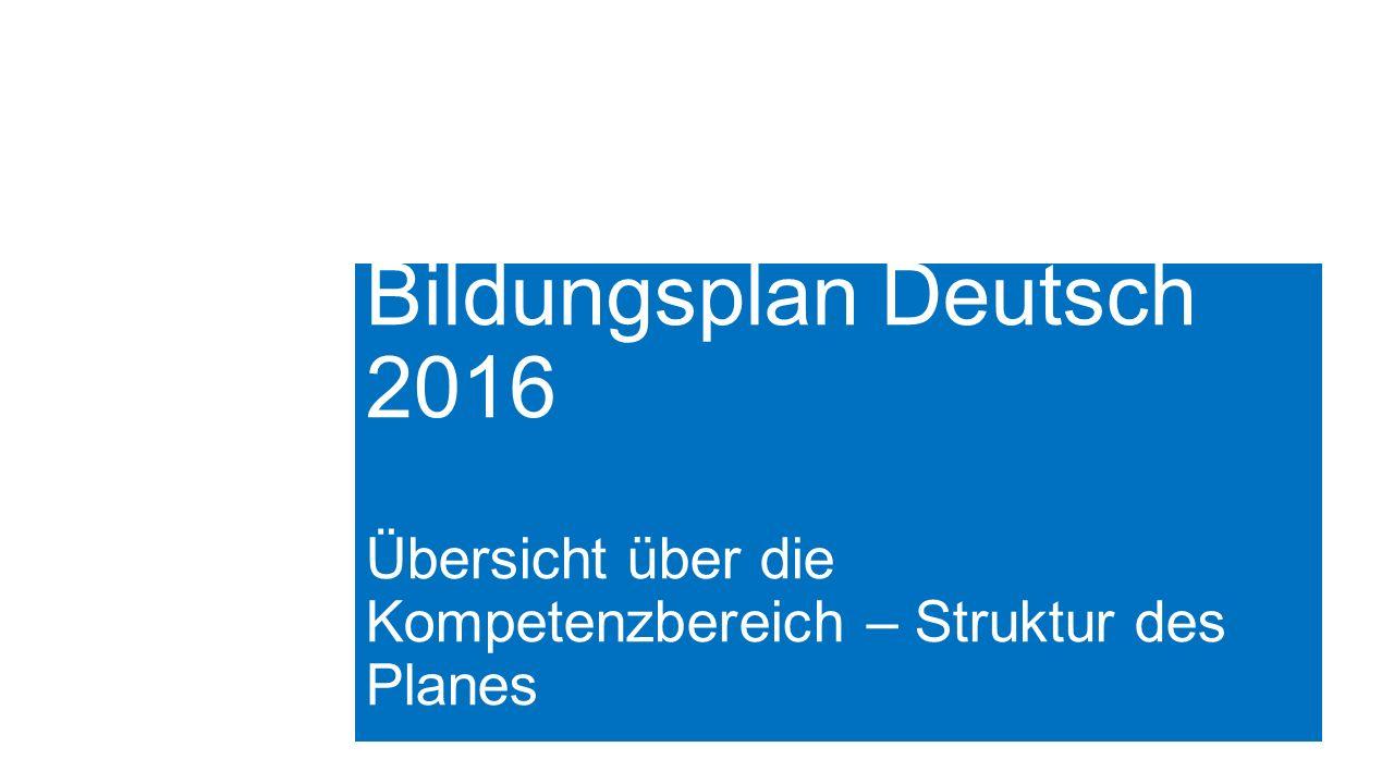 Bildungsplan Deutsch 2016 Übersicht über die Kompetenzbereich – Struktur des Planes