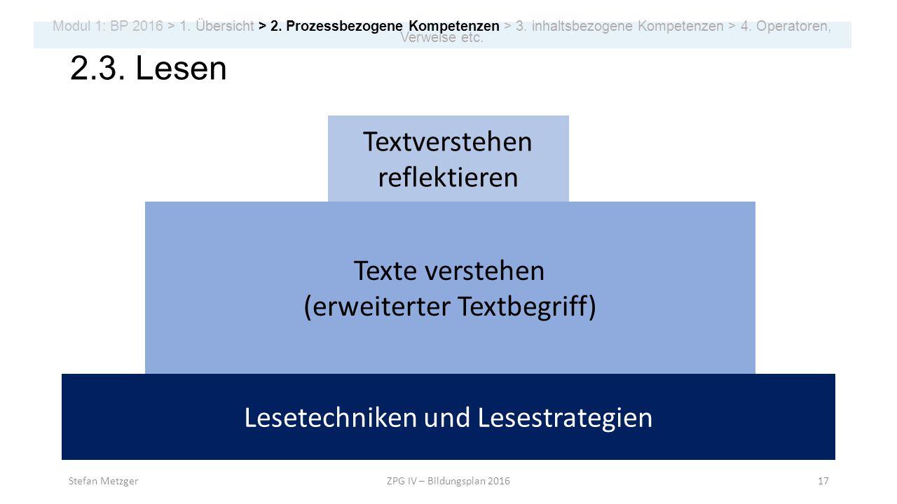 2.3. Lesen Textverstehen reflektieren Texte verstehen